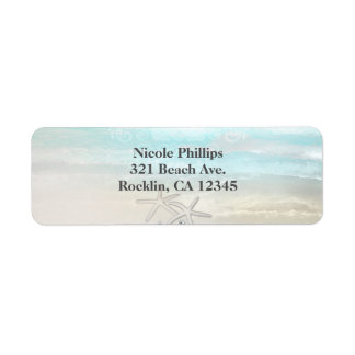 Beach White Starfish Elegant Summer Invitation Return Address Label