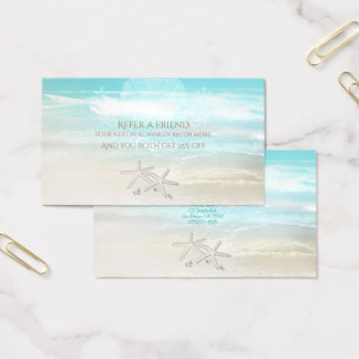 Beach White Starfish Elegant Summer Refer a Friend Business Card