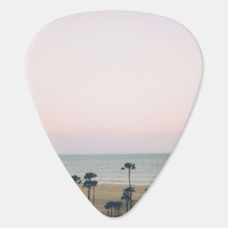Beach wit houses and palm trees plectrum