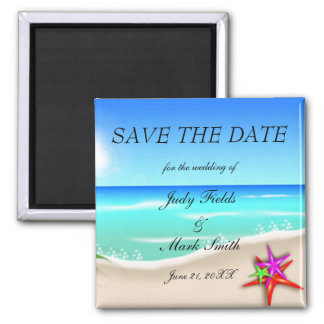 Beach With Colorful Starfish Save The Date Magnet