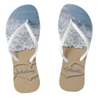 Beach With Hearts In Sand Personalised Flip Flops