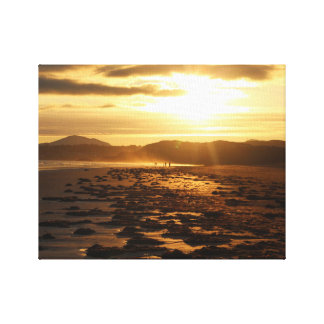 Beach With Hills Sunset Canvas Print