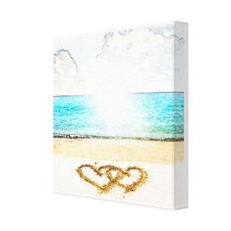 Beach with love heart in sand canvas prints