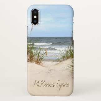 Beach with Name iPhone X Case