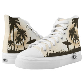 beach with palm surfer in Hawaii High Tops