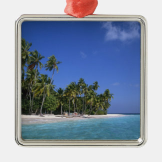Beach with palm trees, Maldives Christmas Ornament