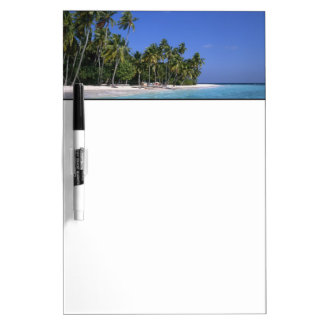 Beach with palm trees, Maldives Dry Erase Board
