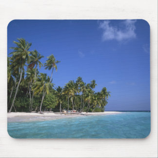 Beach with palm trees, Maldives Mouse Mat