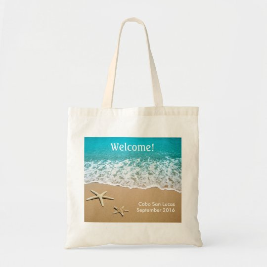 Beach With Starfish on Sand Tote Bag