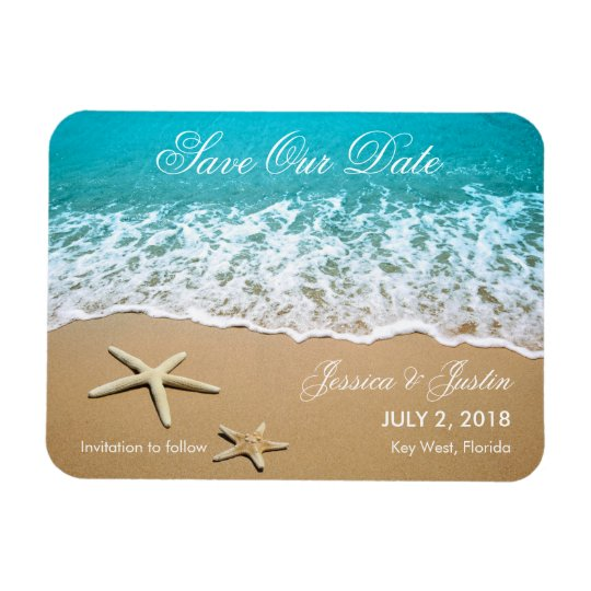 Beach With Starfish Save the Date Magnet
