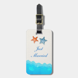 Beach With Starfish Wedding Just Married Travel Bag Tag