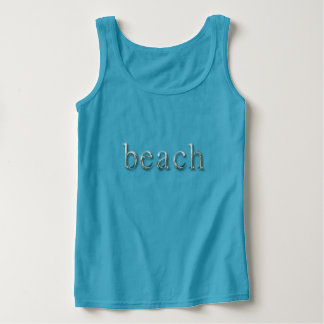Beach Word Blue Silver Gray Text Typography Tank Top