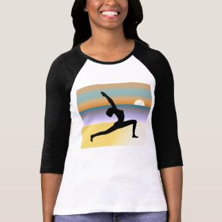 Beach Yoga 3/4 Sleeve Raglan Ladies Top Tee Shirts