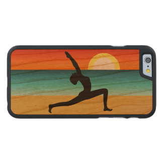 Beach Yoga Warrior Pose Wooden 6 6S Landscape Carved Cherry iPhone 6 Case
