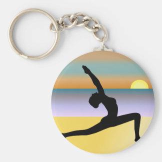 Beach Yoga Woman Posing Silhouette Round Key Chain