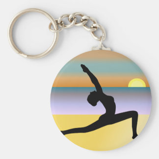 Beach Yoga Woman Posing Silhouette Round Key Chain Key Chain