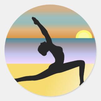 Beach Yoga Woman Posing Silhouette Round Stickers Round Stickers