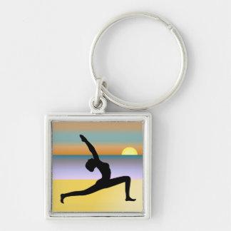 Beach Yoga Woman Silhouette Premium Round Key Ring Silver-Colored Square Key Ring