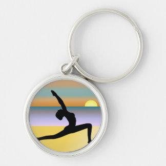 Beach Yoga Woman Silhouette Premium Round Keyring Key Chain
