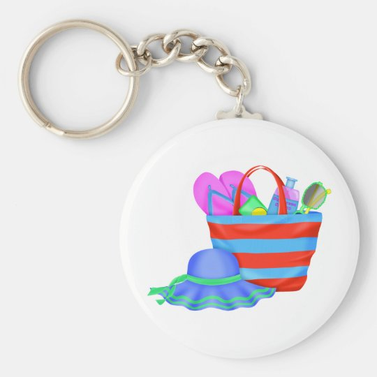 beachbag and hat multicolored basic round button key ring