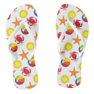 Beachball Crab Sunshine Sun Starfish Beach Print Flip Flops