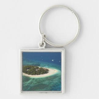 Beachcomber Island Resort, Fiji Silver-Colored Square Key Ring
