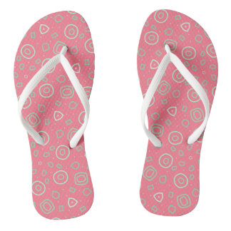 Beachcomber random shapes in silver and pink flip flops