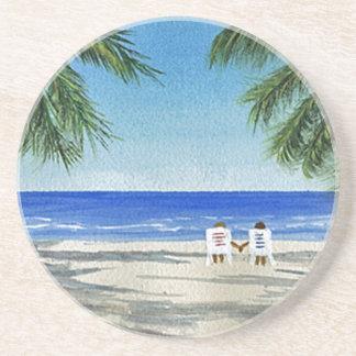 BeachCouple Z.jpg Sandstone Coaster