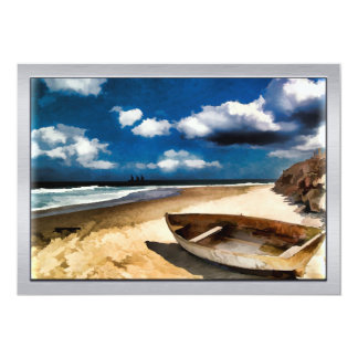 Beached Boat Before the Storm 13 Cm X 18 Cm Invitation Card