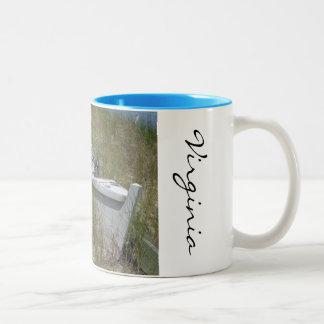 Beached boat in Virginia Two-Tone Coffee Mug