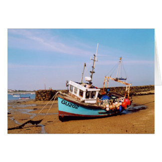 BEACHED FISHING BOAT IN GUERNSEY CARD