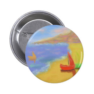 Beached Sail Boats 6 Cm Round Badge