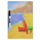 Beached Sail Boats Dry Erase Whiteboard