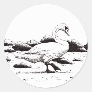 beached swan pen & ink bird drawing round sticker