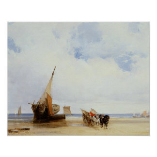Beached Vessels and a Wagon near Trouville, c.1825 Poster