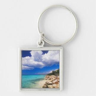 Beaches, Barahona, Dominican Republic, 2 Silver-Colored Square Key Ring