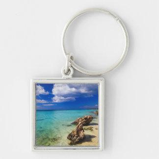 Beaches, Barahona, Dominican Republic, 3 Silver-Colored Square Key Ring