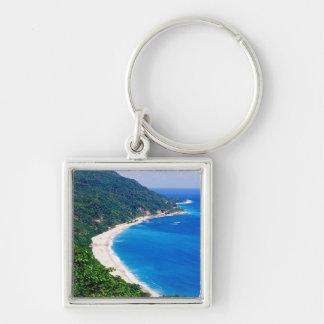 Beaches, Barahona, Dominican Republic, Silver-Colored Square Key Ring