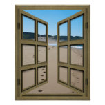 Beachfront 6 Pane Open French Door Poster