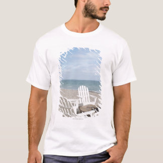 beachfront house with adirondack chairs and T-Shirt