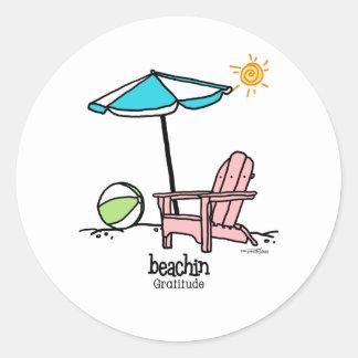 Beachin - Gratitude Classic Round Sticker