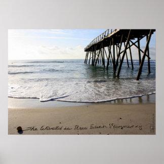 Beachwrite's The World is New Each Morning Poster