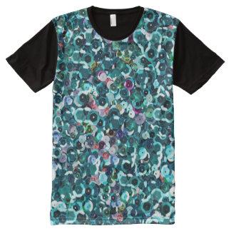 Beachy Aqua Blue Faux Sequins All-Over Print T-Shirt