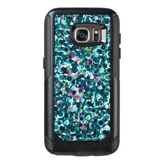 Beachy Aqua Blue Faux Sequins OtterBox Samsung Galaxy S7 Case