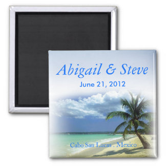 Beachy Beach Cabo Resort Wedding Favor Keepsake Magnet