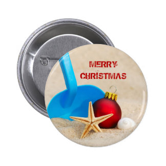 Beachy Christmas 6 Cm Round Badge