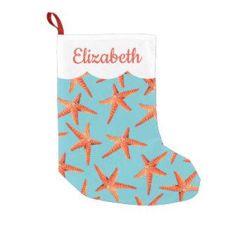 Beachy Coastal Christmas Starfish Small Christmas Stocking