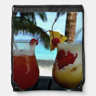 Beachy Cocktails Drawstring Bag