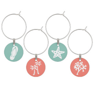 Beachy Flip Flop, Palm Trees, Starfish, and Coral Wine Charm
