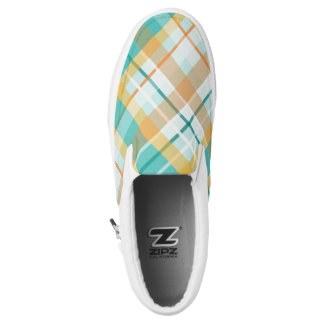 beachy hipster turquoise and gold plaid tartan printed shoes